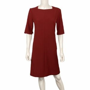 MM. Lafleur Maroon 3/4 Sleeve Dress Size 10